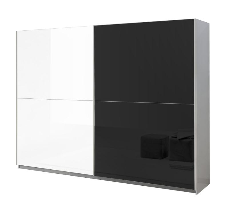 Davidi Design Kenzo Schuifdeurkast Tygo HG Wit/Zwart L263