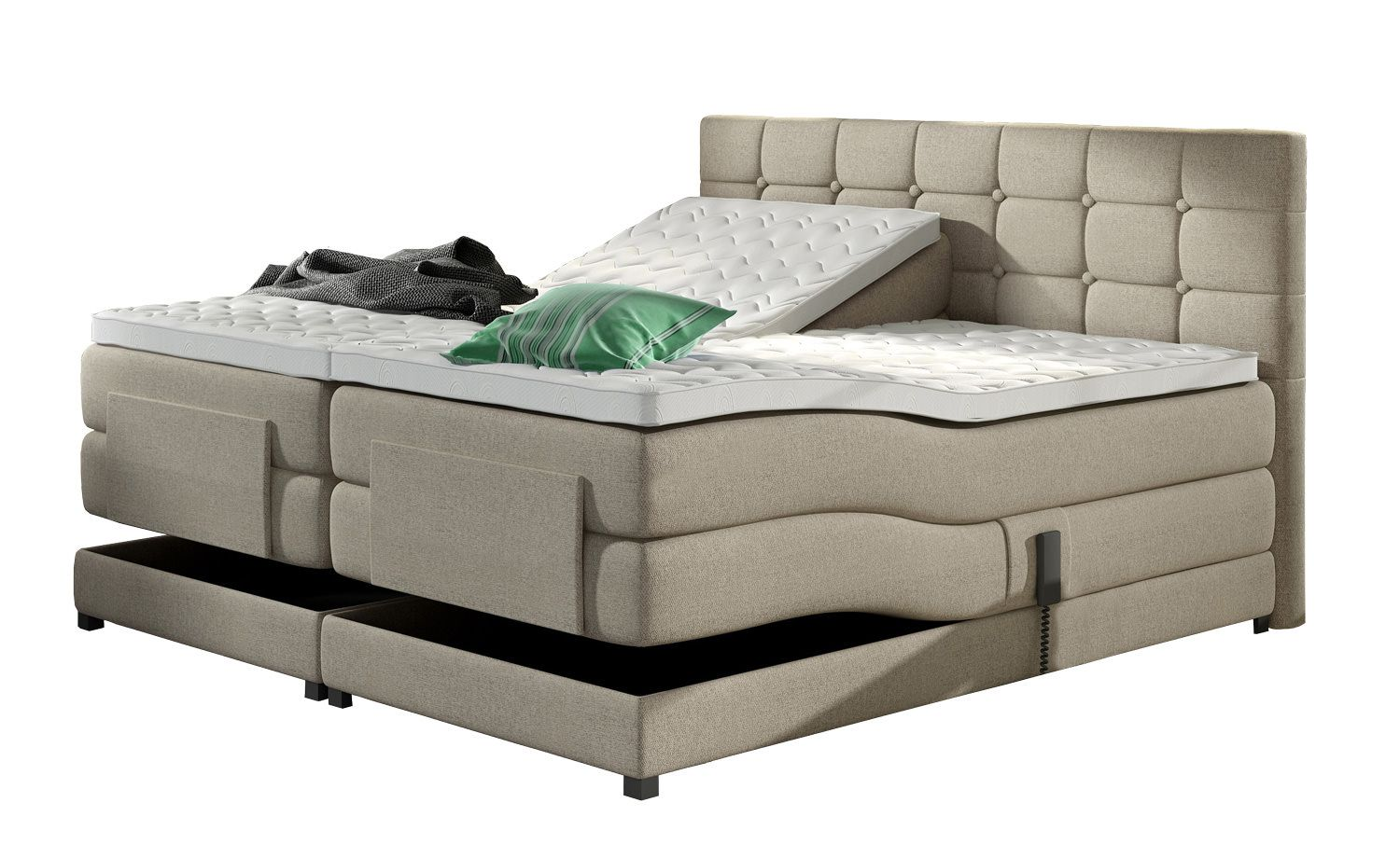 davidi design dubai boxspring beige 160x200. Black Bedroom Furniture Sets. Home Design Ideas