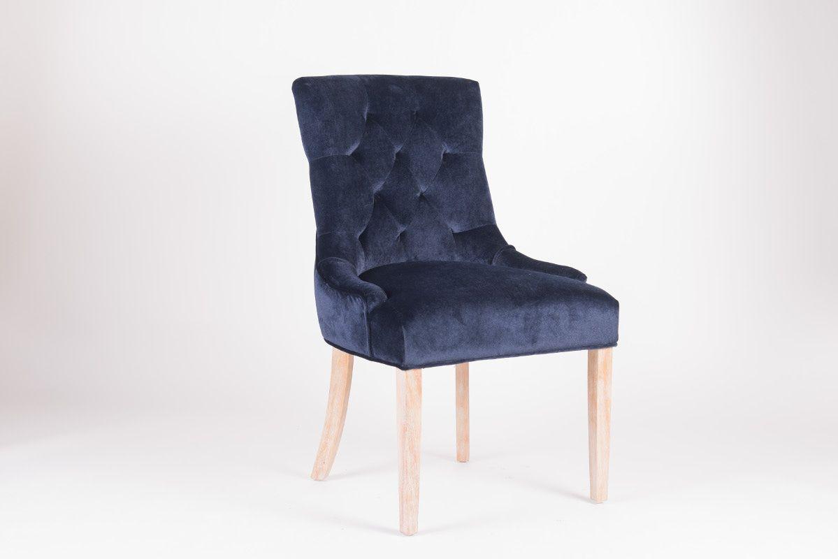 Rousseau Bristol Eetkamerstoel Blauw/Eiken Poten