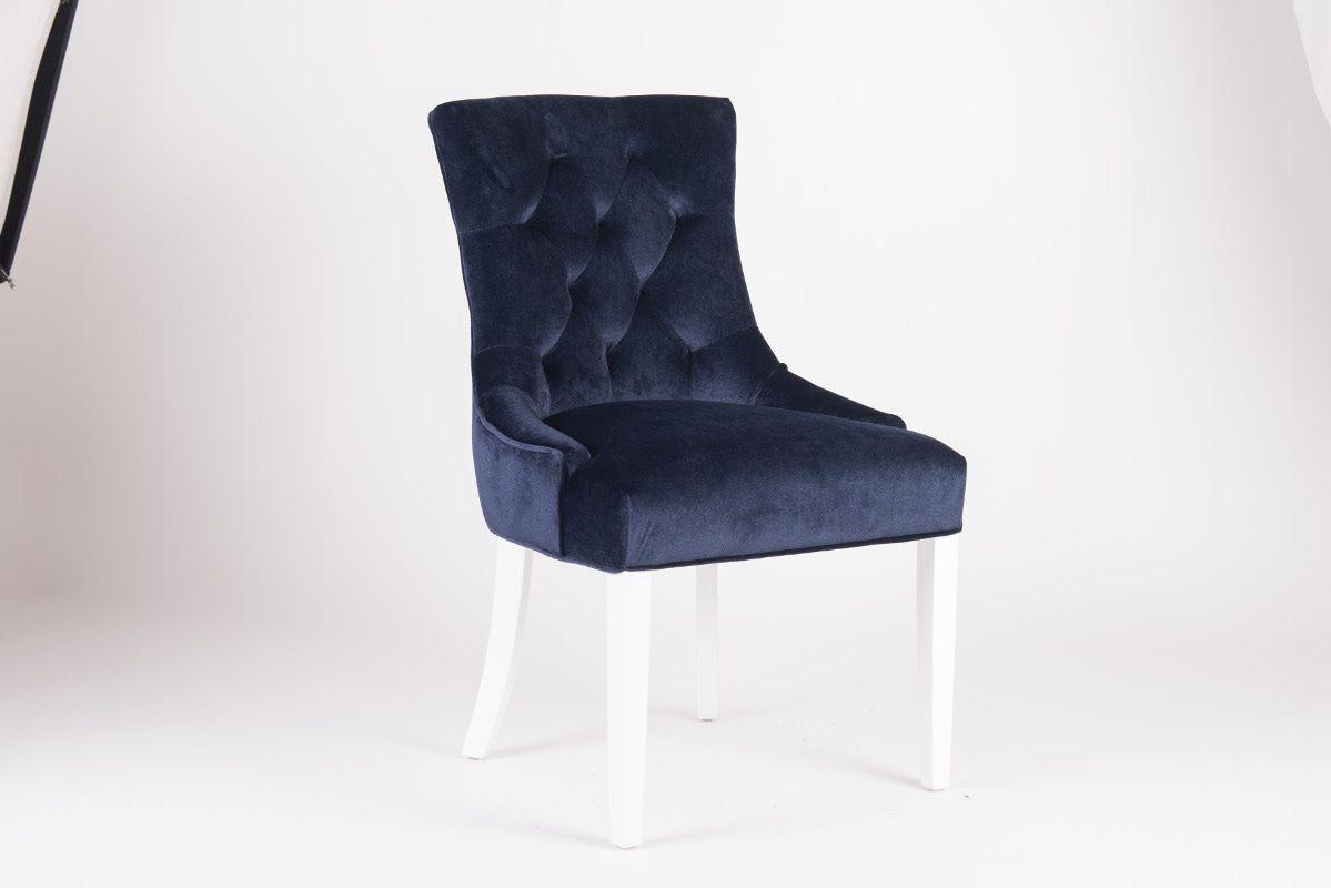 Rousseau Bristol Eetkamerstoel Blauw/Witte Poten